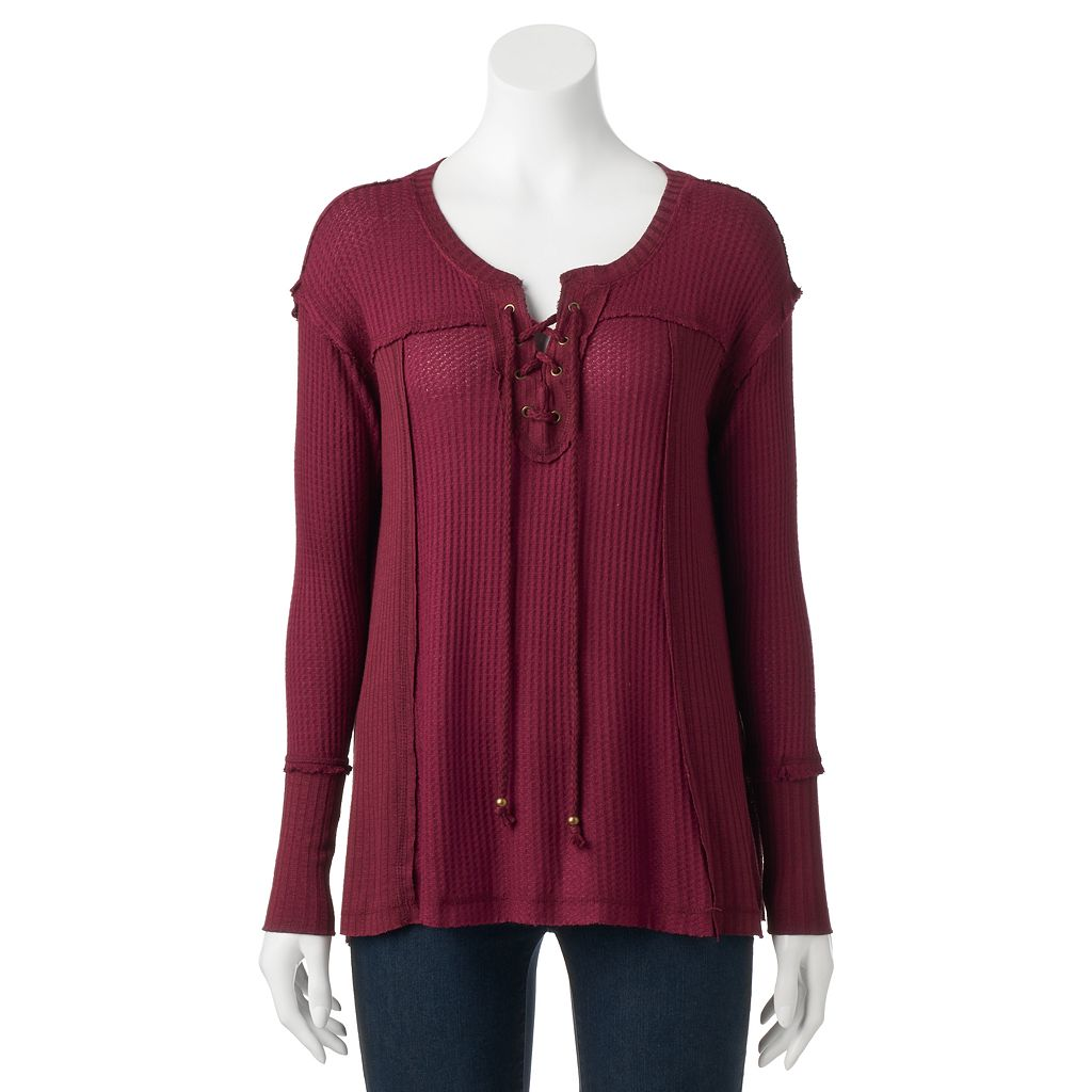 Women's French Laundry Textured Lace-Up Tunic