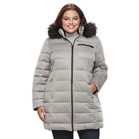 Plus Size Apt. 9® Stretch Hooded Faux-Fur Trim Puffer Jacket