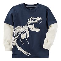 Boys 4-8 Carter's Glow-in-the-Dark Dinosaur Mock-Layer Tee