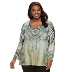Plus Size World Unity Printed Peasant Top
