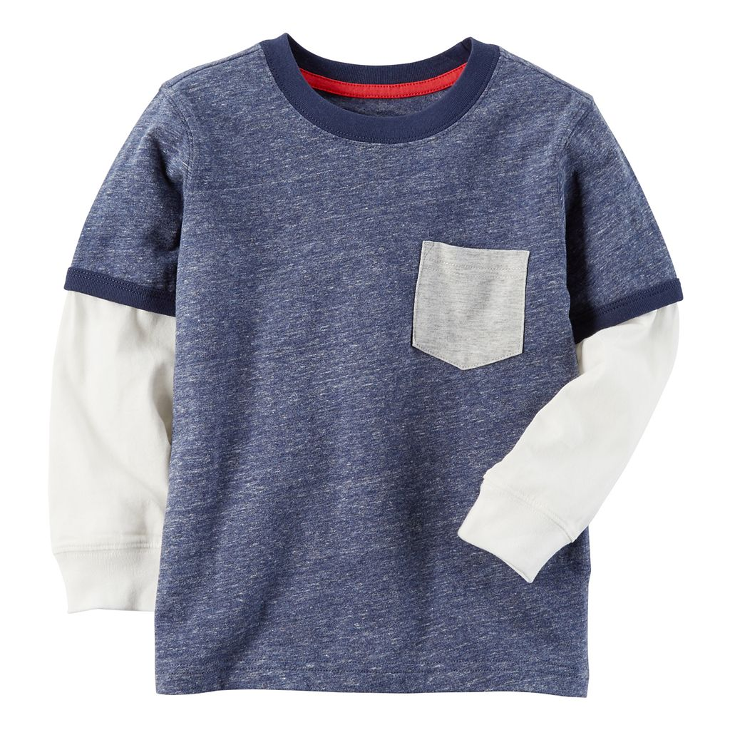 Boys 4-8 Carter's Pocket Slubbed Contrast Long Sleeve Blue Ringer Tee