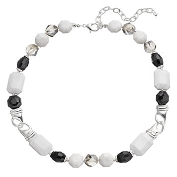 Napier Black & White Beaded Link Necklace