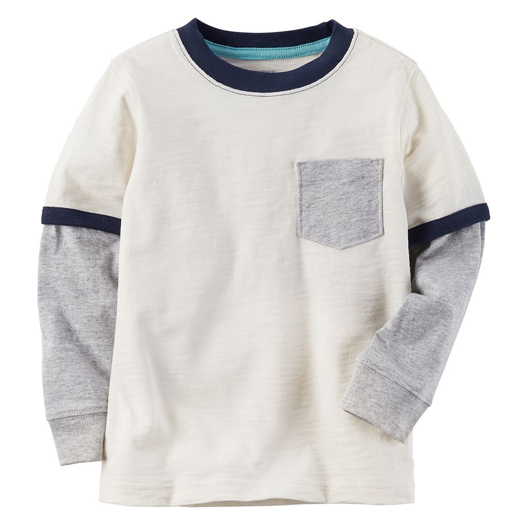 Boys 4-8 Carter's Pocket Slubbed Contrast Long Sleeve Ringer Tee