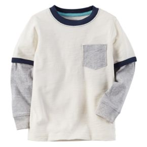 Boys 4-8 Carter's Pocket Slubbed Contrast Long Sleeve Ringer Tee