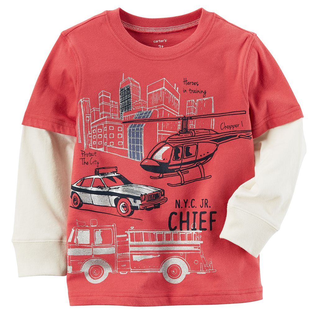 Boys 4-8 Carter's Rescue Slubbed Mock-Layer Graphic Tee