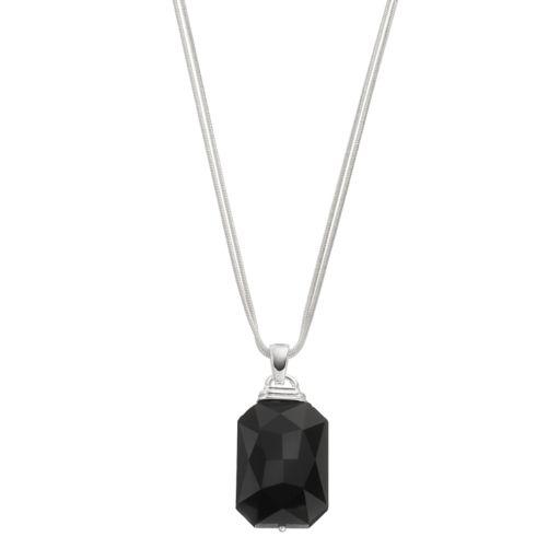 Napier Black Double Strand Rectangular Pendant Necklace