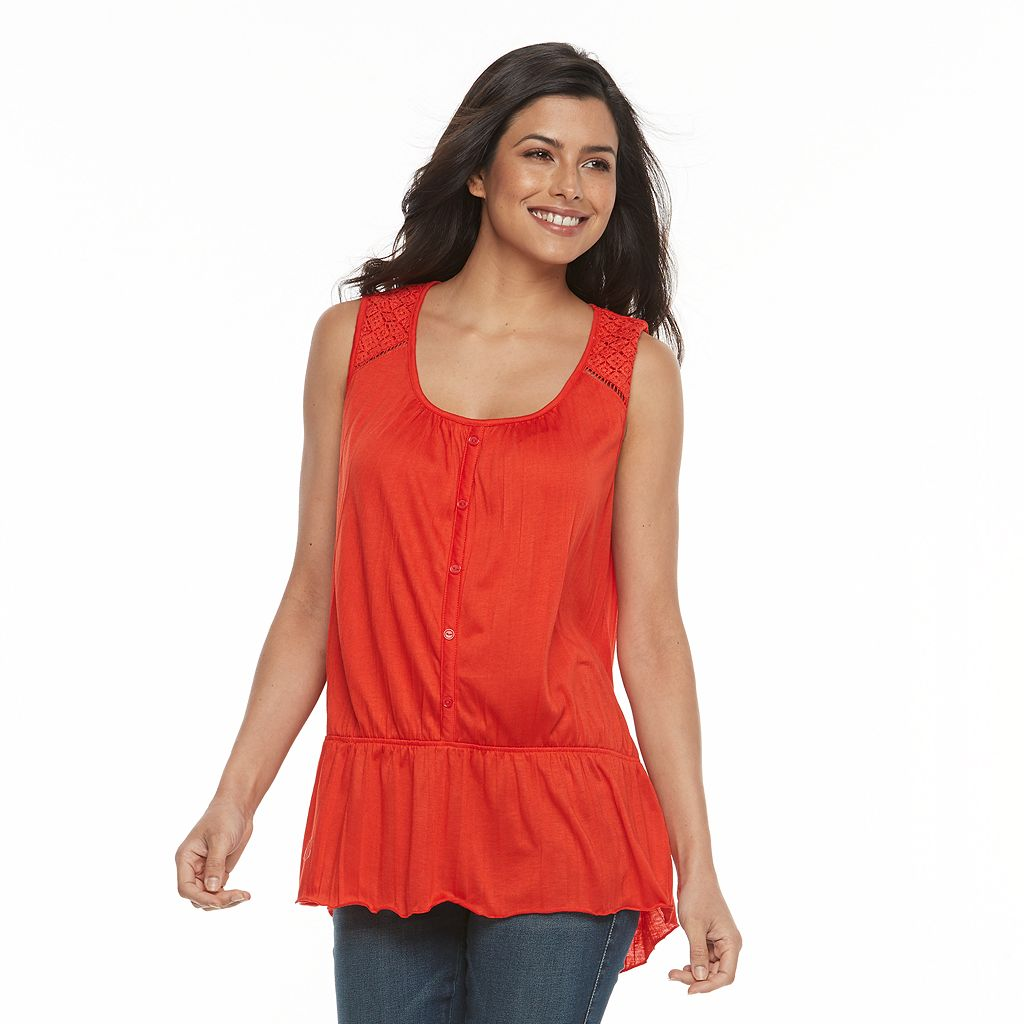 Women's French Laundry Crochet Peplum Tank