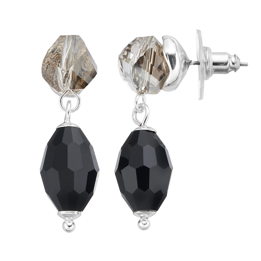 Napier Black Bead Nickel Free Double Drop Earrings