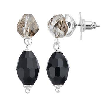 Napier Black Bead Nickel Free Double Drop Earrings