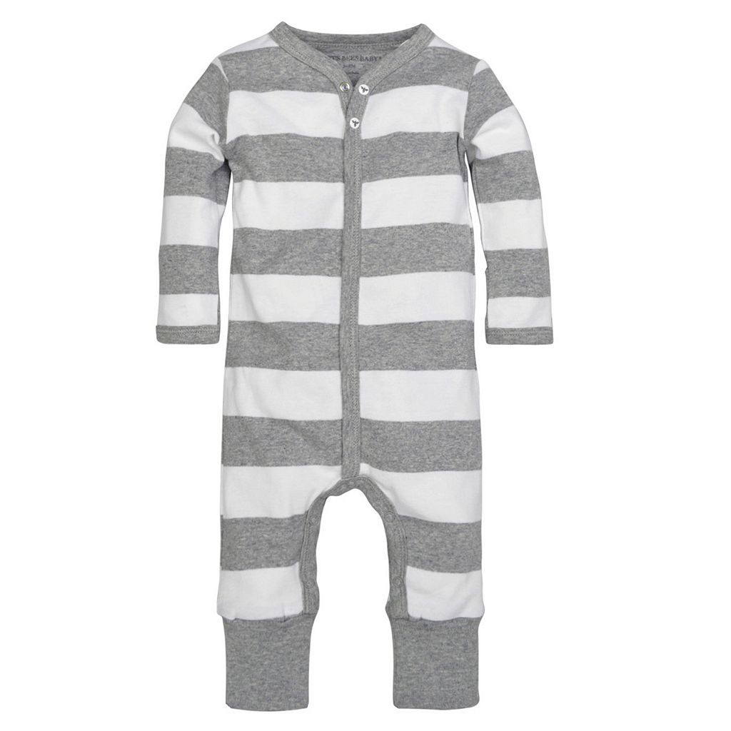 Baby Boy Burt's Bees Baby Organic Striped Coverall & Hat Set