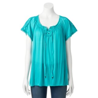 Women's French Laundry Lace-Up Peasant Top