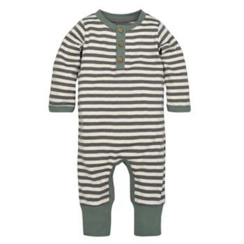 Baby Boy Burt's Bees Baby Organic Henley Striped Coverall