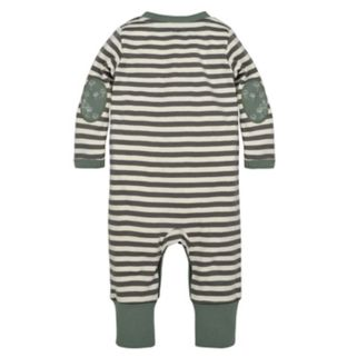 Baby Boy Burt's Bees Baby Organic Henley Striped Coverall