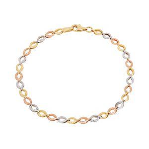 Everlasting Gold Tri Tone 14k Gold Oval Link Bracelet