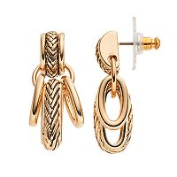 Napier Textured Oval Link Nickel Free Drop Earrings