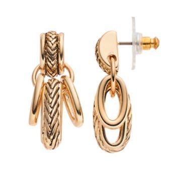 Napier Textured Oval Link Drop Earrings