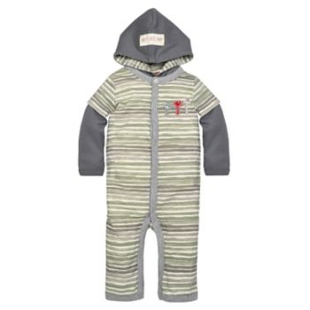 Baby Boy Burt's Bees Baby Organic Striped Hooded Coverall