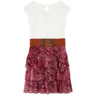 Girls 7-16 Speechless Wide Belted Lace Chiffon Dress