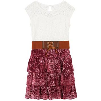 Girls 7-16 Speechless Wide Belted Lace Chiffon Dress