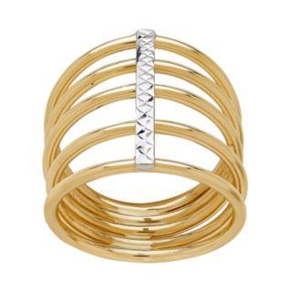Everlasting Gold 14k Gold Textured Multi Row Ring