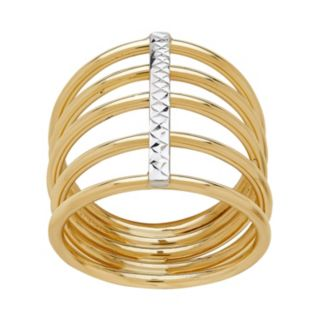 Everlasting Gold 14k Gold Textured Multi Row Ring