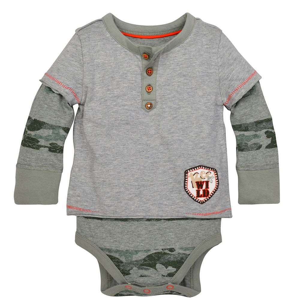 Baby Boy Burt's Bees Baby Organic 2-in-1 Henley Mock-Layer Tee & Bodysuit Set