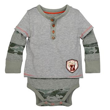 Baby Boy Burt's Bees Baby Organic 2-in-1 Henley Mock-Layer Tee & Bodysuit Set