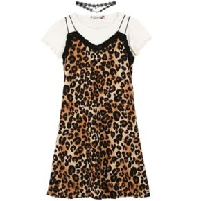 Girls 7-16 Speechless White Tee & Animal Print Dress with Choker Necklace