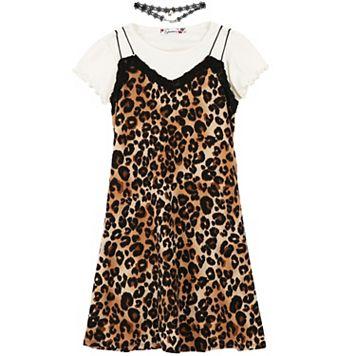Girls 7-16 Speechless White Tee & Animal Print Dress with Choker Necklace