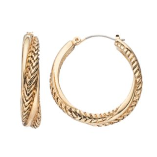 Napier Textured Twist Hoop Earrings