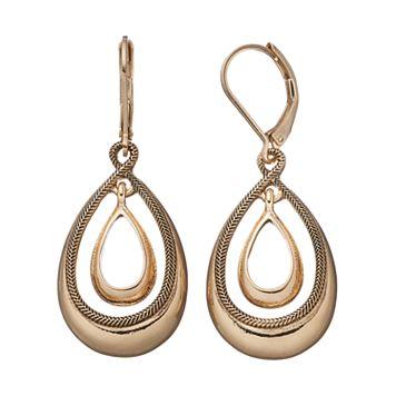 Napier Textured Orbital Nickel Free Teardrop Earrings