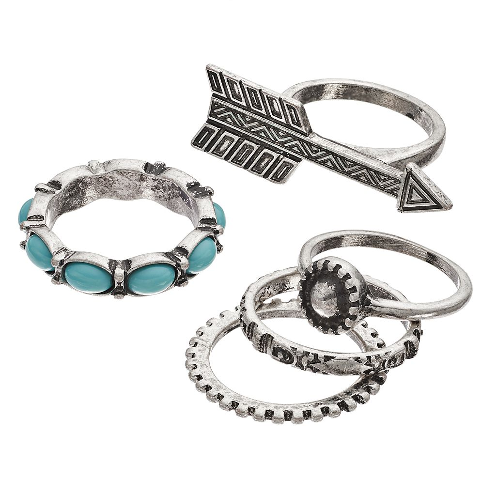 Mudd® Aqua Oval, Arrow & Antiqued Ring Set