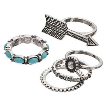 Mudd® Aqua Oval, Arrow & Antiqued Ring Set