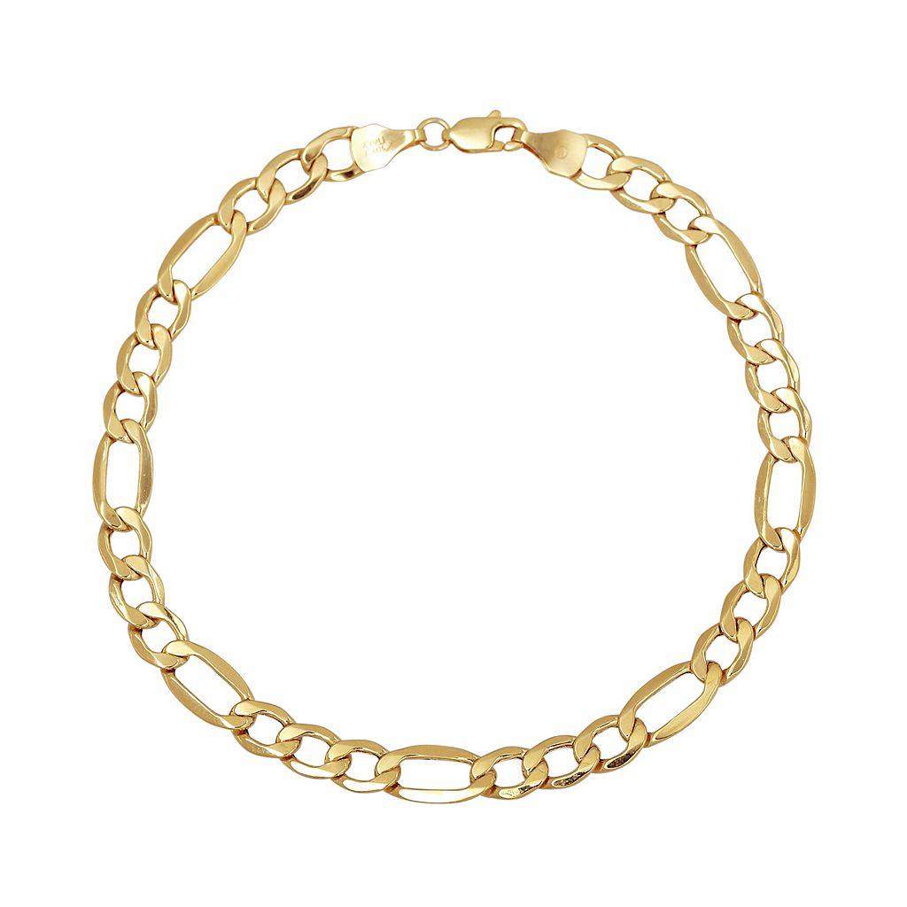 Everlasting Gold 14k Gold Figaro Chain Bracelet
