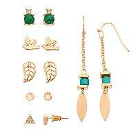 Mudd® Bird, Leaf, Triangle & Marquise Earring Set