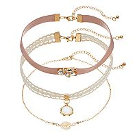 Mudd® Lace, Pink Faux Leather & Openwork Medallion Choker Necklace Set
