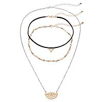 Mudd® Triangle & Tribal Crescent Link Necklace Set