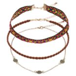 Mudd® Medallion, Tribal Stitch & Braided Cord Choker Necklace Set
