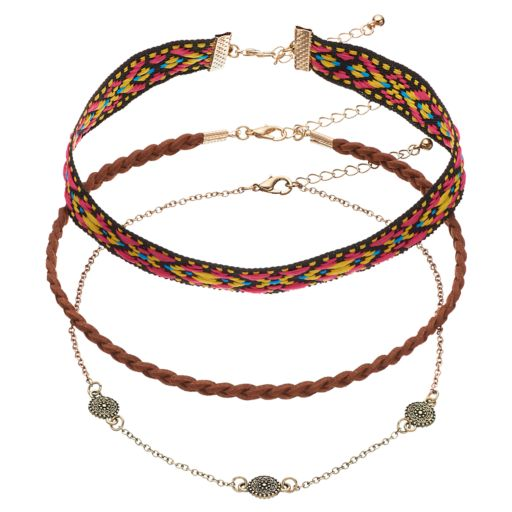 Mudd® Medallion, Tribal Stitch & Braided Cord Choker Necklace Set