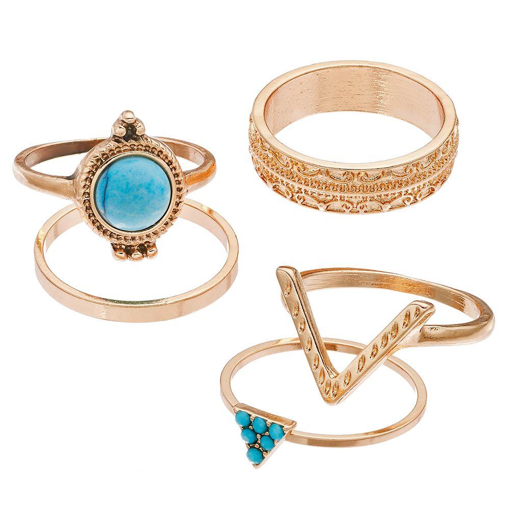 Mudd® Simulated Turquoise, Geometric & Textured Ring Set