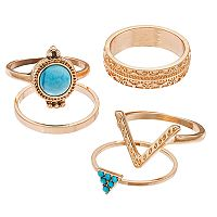 Mudd® Simulated Turquoise, Geometric & Textured Ring Set