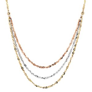 Everlasting Gold Tri Tone 10k Gold Swag Necklace