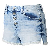 Juniors' Mudd® High Waist Frayed Shortie Shorts