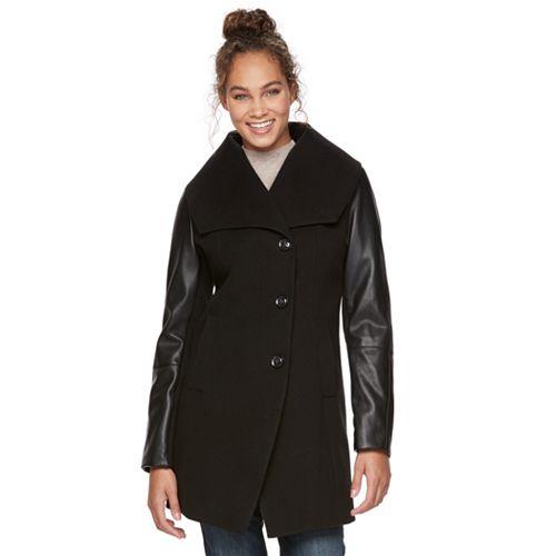 Women's Apt. 9® Faux-Leather Wool Blend Coat