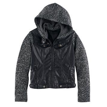 Girls 7-16 SO® Lightweight Knit & Faux-Leather Jacket