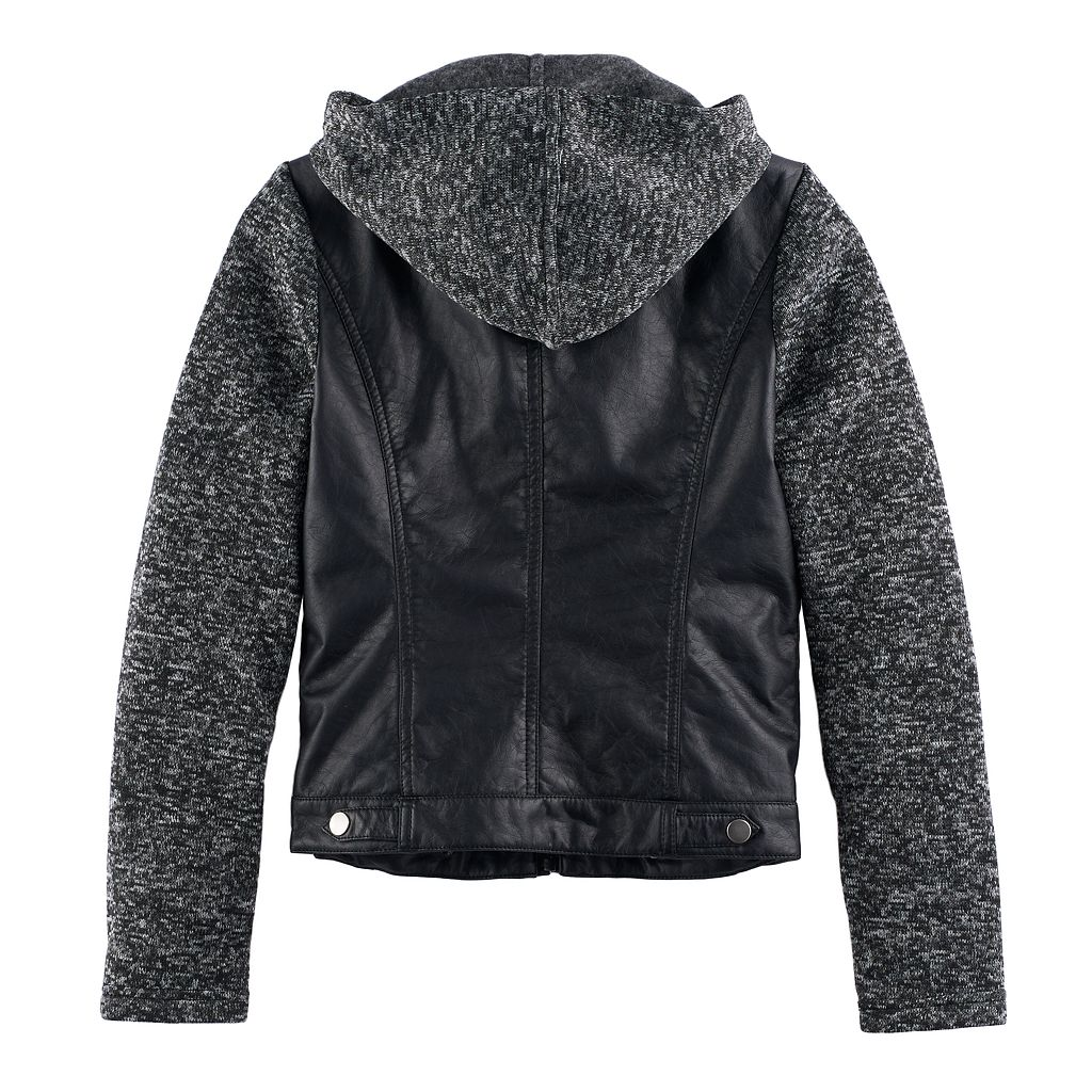 Girls 7-16 SO® Lightweight Knit & Faux-Leather Jacket