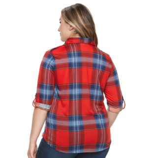 Plus Size French Laundry Plaid Roll-Tab Button-Down Shirt