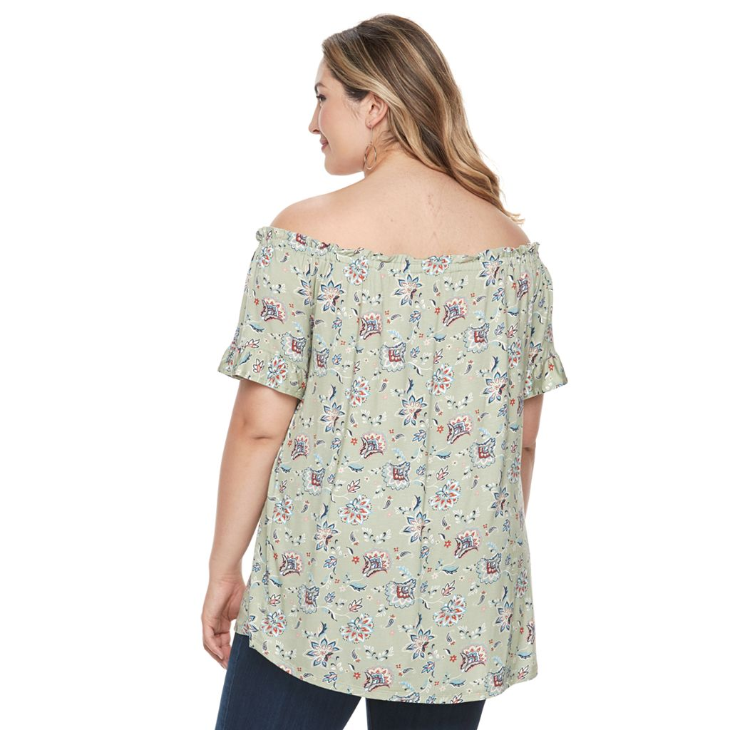 Plus Size French Laundry Smocked Ruffle Peasant Top