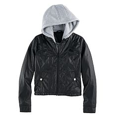 Girls 7-16 SO® Midweight Faux-Leather Sweatshirt Hoodie Jacket