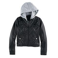 Girls 7-16 SO® Midweight Faux-Leather Sweatshirt Hoodie Jacket